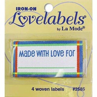 Made With Love - Blue - Iron-On Lovelabels 4/Pkg