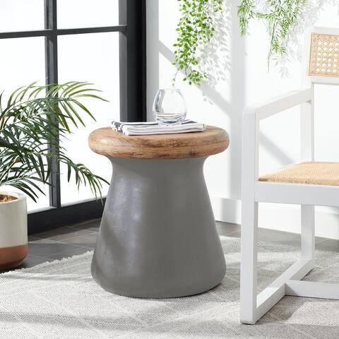 "SAFAVIEH Button Concrete Indoor/ Outdoor Accent Table (Dark Grey) - 16.5"" x 16.5"" x 18.1"""