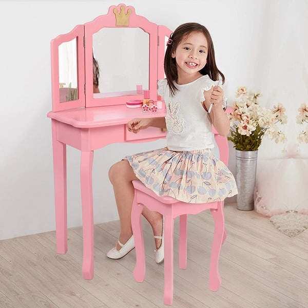 Pink and Black Ynredee Kids Vanity Set,Vanity Table and Chair with Three-Fold Mirror,Single-Drawing Curved Foot Children Dressing Table with Drawer