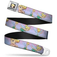Tinker Bell Close Up Full Color Tinker Bell Poses Purple Pink Fade Webbing Seatbelt Belt