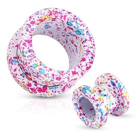 Pink, Blue, Yellow Splatter 316L Surgical Steel Screw Fit White Tunnel (Sold Individually)