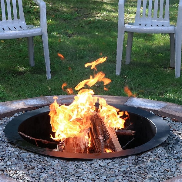 Sunnydaze Durable Steel Fire Pit Ring Liner DIY Fire Pit Rim - 27 Inch Diameter