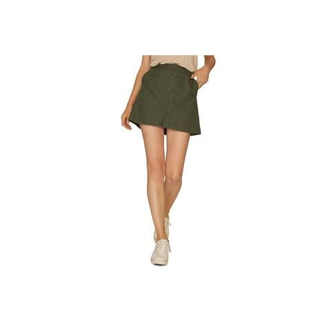 Sanctuary Womens Mini Skirt Cotton Blend Button Up - Green - XXL