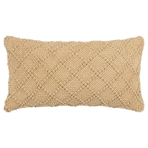 "Donny Osmond by Rizzy Home Dark Gold Macreme Diamond Pattern 14""X26"" Throw Pillow"