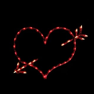 """18"""" Lighted Red Valentine's Day Heart Bow & Arrow Window Silhouette Decoration"""