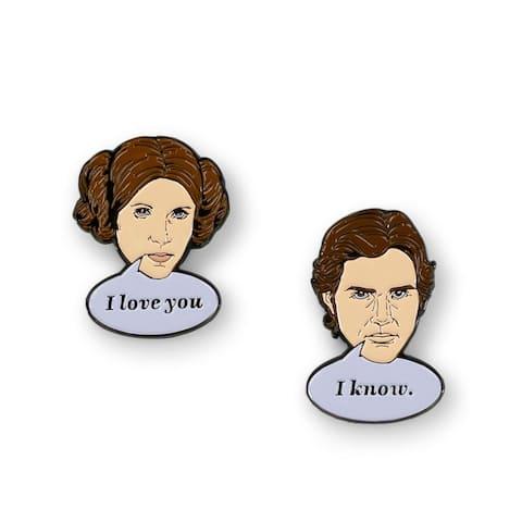 Star Wars Han Solo & Princess Leia Collector Pins I Love You, I Know Pin Set - Multi