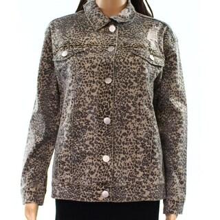 Ashley Mason NEW Brown Black Womens Size XL Animal-Print Denim Jacket
