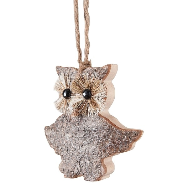 """4.5"""" Country Cabin Glitter Birch Owl Wooden Star Christmas Ornament - brown"""