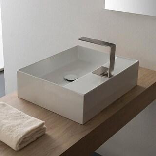 "Nameeks Scarabeo 5112  Scarabeo Teorema 2.0 20"" Rectangular Ceramic Vessel Bathroom Sink with Overflow"