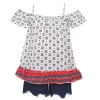 Little Girls Blue Pattern Off-Shoulder Strap Top 2 Pc Denim Shorts Outfit