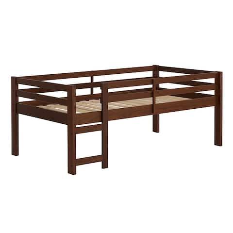 Delacora WE-BDWJRTOL Twin Wooden Platform Contemporary Bed Frame
