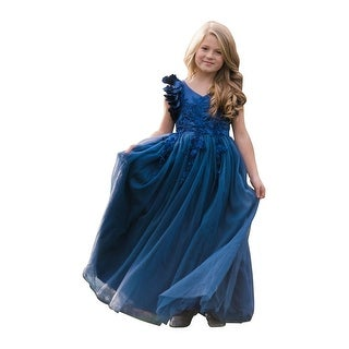 Girls Navy Petal Sleeve Satin Floor Length Junior Bridesmaid Dress