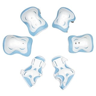 Child Butterfly Accent Meshy Elbow Knee Support Shield Kit 3 in 1 White Blue