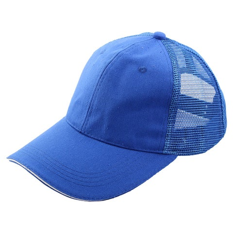 Unisex Cotton Blends Meshy 6 Panel Adjustable Golf Baseball Cap Sports Hat Blue