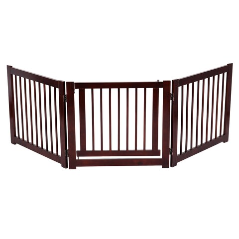 Gymax Folding Free Standing 3 Panel Wood Pet Dog Safety Fence - cherry