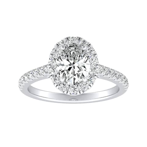 Auriya Platinum 1 3/8ctw Oval-cut Halo Diamond Engagement Ring