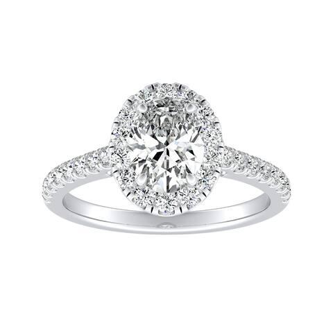 Auriya Platinum 1 1/5ctw Oval-cut Halo Diamond Engagement Ring