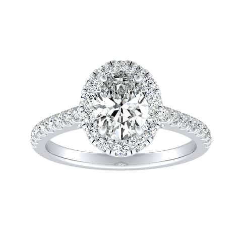 Auriya Platinum 3/4ctw Oval-cut Halo Diamond Engagement Ring