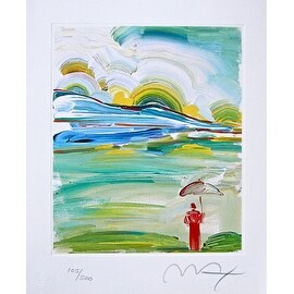 Umbrella Man at Sunrise, Ltd Ed Lithograph, Peter Max