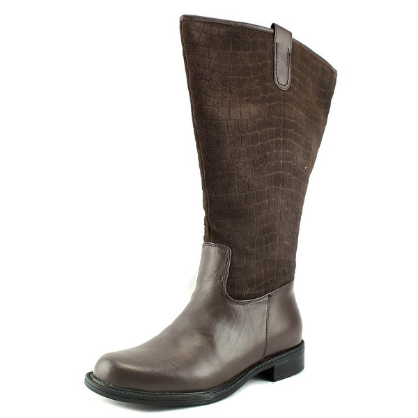 David Tate Best-20 Women Round Toe Leather Brown Knee High Boot