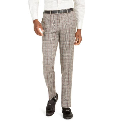 Tallia Mens Pants Wool Blend Plaid - Brown - 38/32