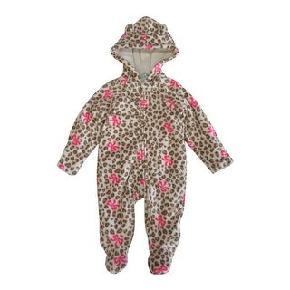Healthtex Baby Girls Tan Leopard Pattern Full Body Hooded Bodysuit