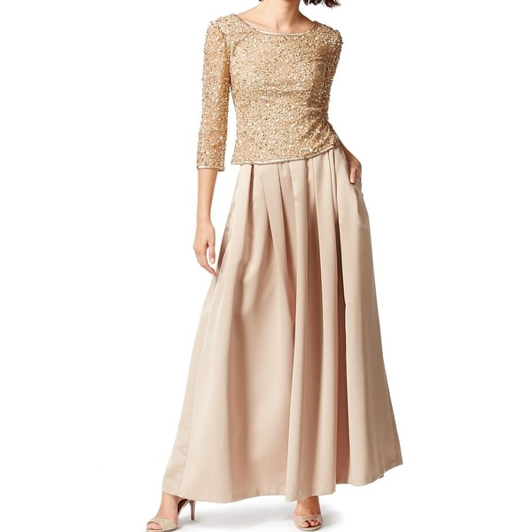 Patra NEW Gold Women's Size 14 Pleated Sequin-Embellish Ball Gown Set