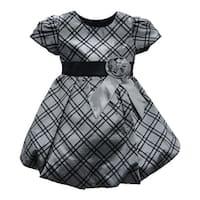 Baby Girls Grey Checkered Flower Sash Short Sleeve Christmas Dress 6M-24M