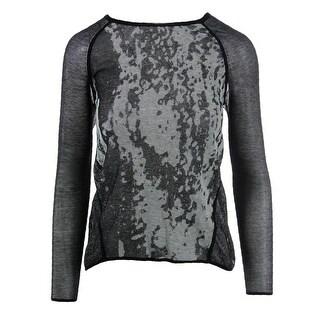Elie Tahari Womens Olivia Textured Scoop Neck Tunic Sweater