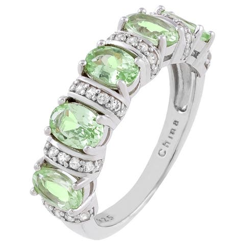 5-Stone Oval-Cut Mint Green Garnet Wedding Band, Sterling Silver