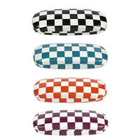 [4 PACK], JAVOedge Checkerboard Multi-Color Theme Pattern Hard Clamshell Eyeglass Storage Case w/ Bonus Microfiber Cloth