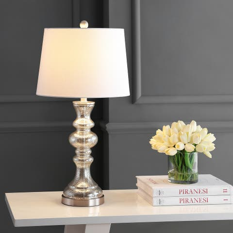 "SAFAVIEH Lighting Jaiden Amber 27-inch LED Table Lamp - 14"" W x 14"" L x 27"" H"