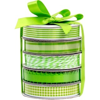 American Crafts Premium Ribbon & Twine 5-Packs-Spring Green