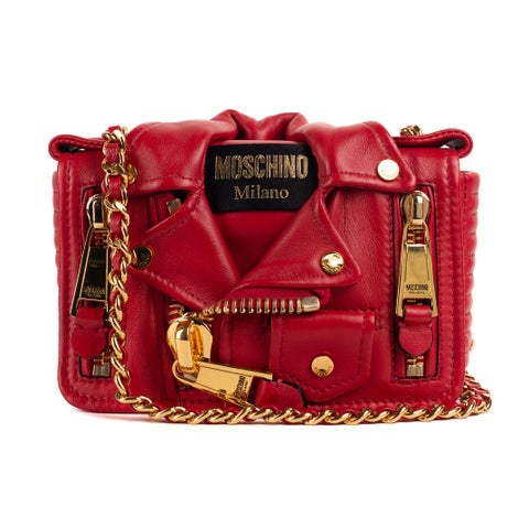 Moschino Red Leather Small Moto Jacket Chain Shoulder Bag