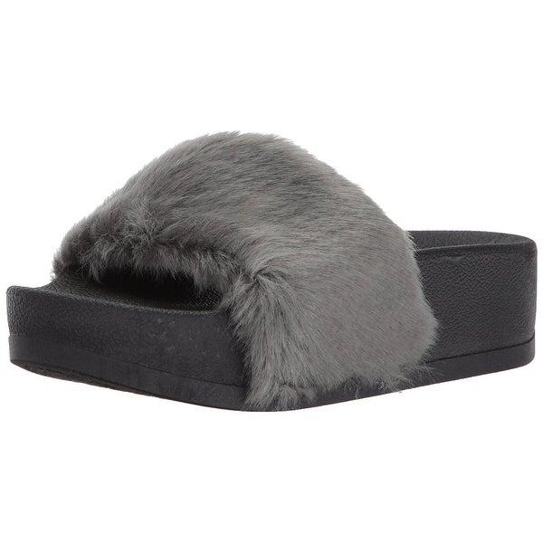 Steve Madden Womens Softey-P Faux Fur Open Toe Casual Platform Sandals
