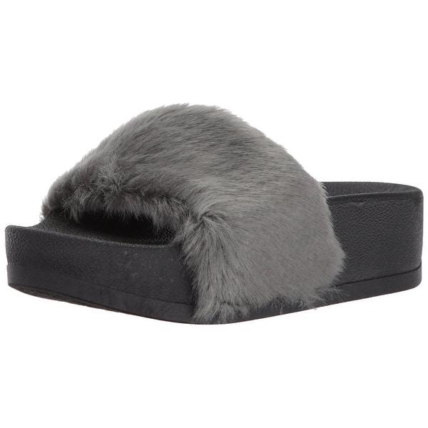 419755aebf0 Shop Steve Madden Womens Softey-P Faux Fur Open Toe Casual Platform ...