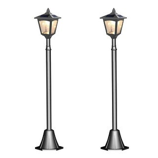 Kanstar pack of 2 solar powered 42 outdoor vintage mini street lamp kanstar pack of 2 solar powered 42quot outdoor vintage mini street lamp post light mozeypictures Gallery