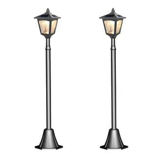 Solar lighting for less overstock kanstar pack of 2 solar powered 42 outdoor vintage mini street lamp post light workwithnaturefo