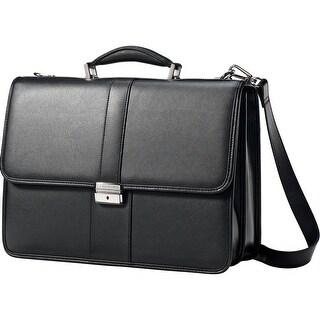 Samsonite Leather Flapover Business Case, Black