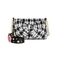Betsey Johnson Womens Shoulder Handbag Tweed Studded - small