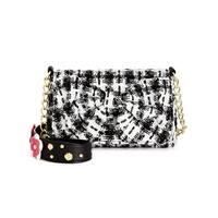 Betsey Johnson Womens Shoulder Handbag Tweed Studded - small