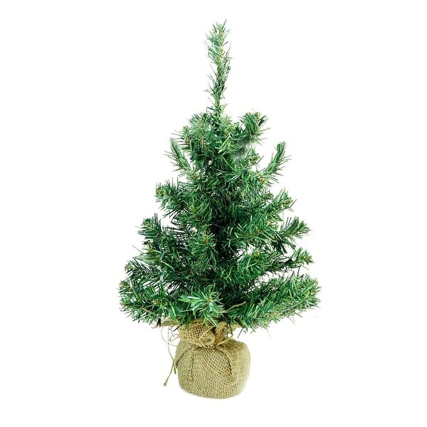 "18"" x 9.5"" Pre-Lit B/O Mixed Green Pine Artificial Christmas Tree in Burlap Base – Clear LED Lights"