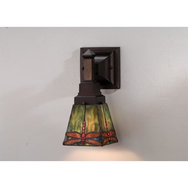 Meyda Tiffany 48187 Stained Glass / Tiffany Down Lighting Wall Sconce from the Prairie Dragonfly Collection - tiffany glass