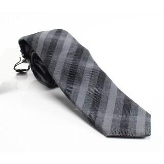 John Varvatos NEW Black Grey Plaid Men's Wool Blend Skinny Necktie