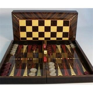 Elegance Brown Croc Trim with Chessboard - Decoupage Wood Backgammon