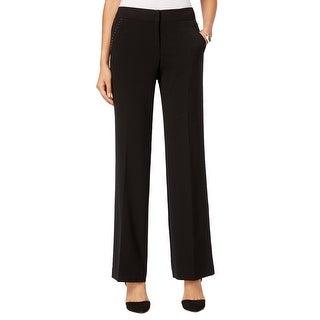 Style & Co Studded Straight Leg Dress Pants Trousers Slacks Deep Black - 16