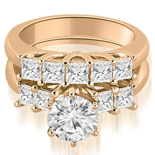 1.75 cttw. 14K Rose Gold Princess and Round Cut Diamond Engagement Bridal Set