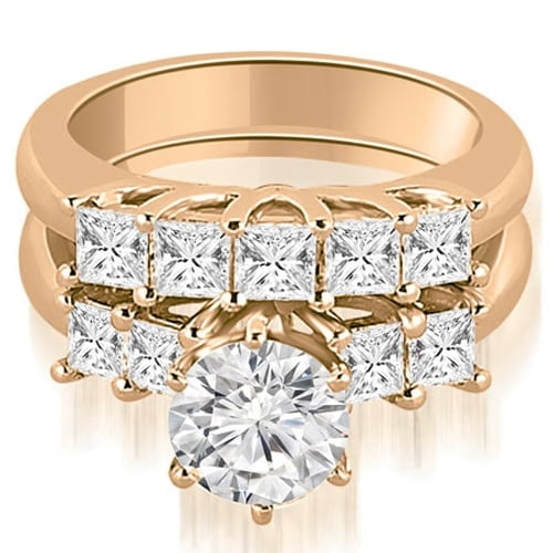 2.00 cttw. 14K Rose Gold Princess and Round Cut Diamond Engagement Bridal Set