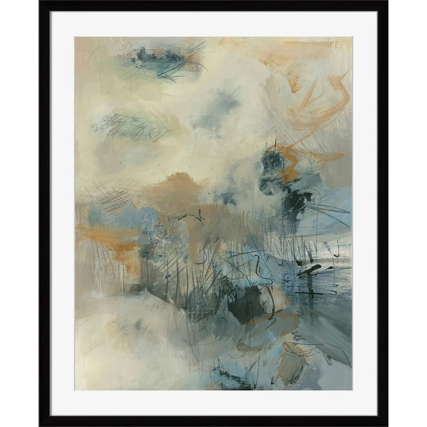 """40"""" x 34"""" Blue and Beige Brush Fire Paper Printed Rectangular Framed Wall Art Decoration - N/A"""
