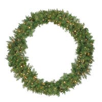 Pre-Lit Northern Pine Artificial Christmas Wreath - 48-Inch, Clear Lights - green